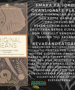 Original Beans Cru Udzungwa med nibs 70%, Eko och Fair