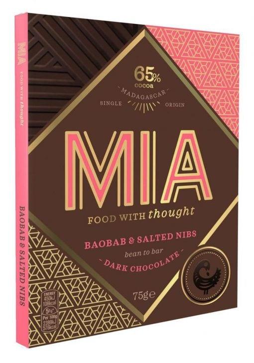 MIA Mörk Chokladkaka med Baobab och Salted nibs 65% 75g