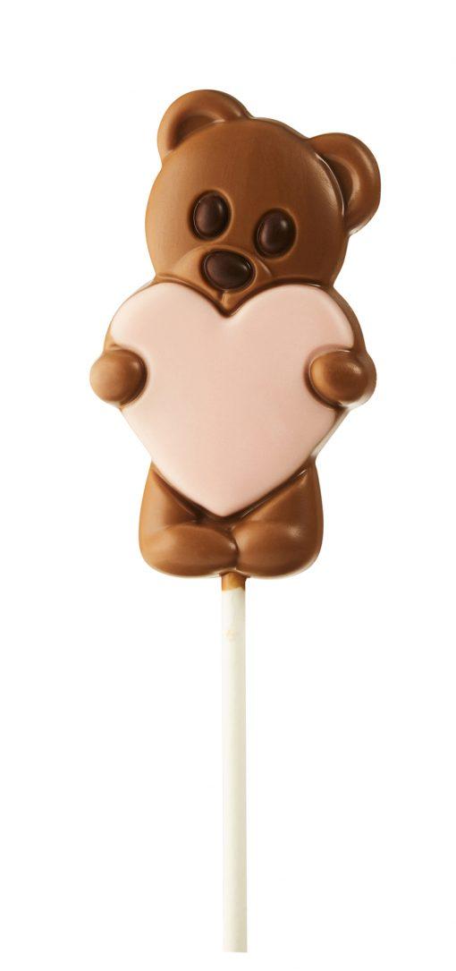 Zebeda Chokladklubba Mjölkchoklad Nalle med rosa hjärta